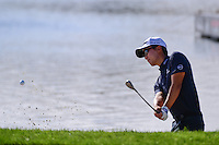 Michael Kim (USA) hits from the trap on 18 during round 2 of the Honda Classic, PGA National, Palm Beach Gardens, West Palm Beach, Florida, USA. 2/24/2017.<br /> Picture: Golffile | Ken Murray<br /> <br /> <br /> All photo usage must carry mandatory copyright credit (&copy; Golffile | Ken Murray)