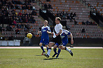 Home captain Dougie Gair controls the ball before opening the scoring in the Scottish pyramid play-off second leg between Edinburgh City (in white) and Cove Rangers at the Commonwealth Stadium at Meadowbank in Edinburgh. The match between the champions of the Lowland and Highland Leagues determined which club would play-off against East Stirlingshire for a place in the Scottish league. The second leg ended 1-1, giving Edinburgh City a 4-1 aggregate win.