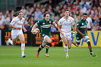20130809 Copyright onEdition 2013 ©<br /> Free for editorial use image, please credit: onEdition.<br /> <br /> Rhodri Davis of Leicester Tigers 7s runs in an early try in the opening game of the finals of the J.P. Morgan Asset Management Premiership Rugby 7s Series.<br /> <br /> The J.P. Morgan Asset Management Premiership Rugby 7s Series kicked off for the fourth season on Thursday 1st August with Pool A at Kingsholm, Gloucester with Pool B being played at Franklin's Gardens, Northampton on Friday 2nd August, Pool C at Allianz Park, Saracens home ground, on Saturday 3rd August and the Final being played at The Recreation Ground, Bath on Friday 9th August. The innovative tournament, which involves all 12 Premiership Rugby clubs, offers a fantastic platform for some of the country's finest young athletes to be exposed to the excitement, pressures and skills required to compete at an elite level.<br /> <br /> The 12 Premiership Rugby clubs are divided into three groups for the tournament, with the winner and runner up of each regional event going through to the Final. There are six games each evening, with each match consisting of two 7 minute halves with a 2 minute break at half time.<br /> <br /> For additional images please go to: http://www.w-w-i.com/jp_morgan_premiership_sevens/<br /> <br /> For press contacts contact: Beth Begg at brandRapport on D: +44 (0)20 7932 5813 M: +44 (0)7900 88231 E: BBegg@brand-rapport.com<br /> <br /> If you require a higher resolution image or you have any other onEdition photographic enquiries, please contact onEdition on 0845 900 2 900 or email info@onEdition.com<br /> This image is copyright the onEdition 2013©.<br /> <br /> This image has been supplied by onEdition and must be credited onEdition. The author is asserting his full Moral rights in relation to the publication of this image. Rights for onward transmission of any image or file is not granted or implied. Changing or deleting Copyright information is illegal as specified in the Copyright, Design and Patents Act 1988. If you are in any way unsure of your right to