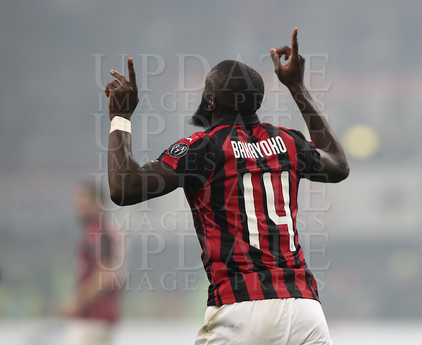 Calcio, Serie A: AC Milan - Inter Milan, Giuseppe Meazza (San Siro) stadium, Milan on 17 March 2019.  <br /> Milan's Ti&eacute;mou&eacute; Bakayoko celebrates after scoring during the Italian Serie A football match between Milan and Inter Milan at Giuseppe Meazza stadium, on 17 March 2019. <br /> UPDATE IMAGES PRESS/Isabella Bonotto