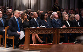 December 5, 2018 - Washington, DC, United States: United States President Donald J. Trump, First Lady Melania Trump, Barack Obama, Michelle Obama, Bill Clinton, Hillary Clinton and Jimmy Carter attend the state funeral service of former President George W. Bush at the National Cathedral. <br /> Credit: Chris Kleponis / Pool via CNP