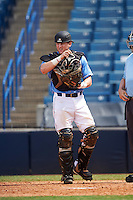 Catcher Philip Clarke (23) of Christ Presbyterian High School in Franklin, Tennessee playing for the Kansas City Royals scout team during the East Coast Pro Showcase on August 3, 2016 at George M. Steinbrenner Field in Tampa, Florida.  (Mike Janes/Four Seam Images)