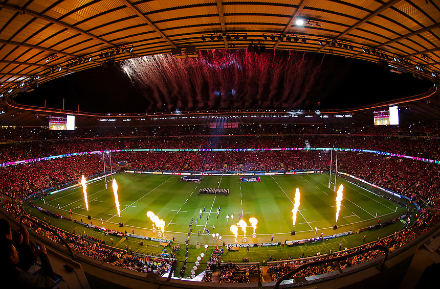 A general view of Twickenham, home of England rugby on the opening night<br /> <br /> Photographer Ashley Western/CameraSport<br /> <br /> Rugby Union - 2015 Rugby World Cup - England v Fiji - Friday 18th September 2015 - Twickenham - London<br /> <br /> &copy; CameraSport - 43 Linden Ave. Countesthorpe. Leicester. England. LE8 5PG - Tel: +44 (0) 116 277 4147 - admin@camerasport.com - www.camerasport.com