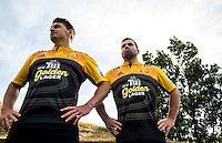 Beauden Barrett and James Marshall in the new Tui Golden Lager jerseys. Hurricanes rugby jersey promotion at Rugby League Park, Wellington, New Zealand on Thursday, 10 March 2016. Photo: Dave Lintott / lintottphoto.co.nz