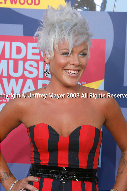 LOS ANGELES, CA. - September 07: Singer Pink arrives at the 2008 MTV Video Music Awards at Paramount Pictures Studios on September 7, 2008 in Los Angeles, California.