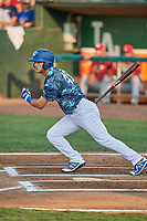 Matt Cogen (49) of the Ogden Raptors bats against the Orem Owlz at Lindquist Field on August 3, 2018 in Ogden, Utah. The Raptors defeated the Owlz 9-4. (Stephen Smith/Four Seam Images)