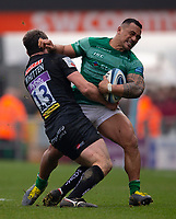 Newcastle Falcons' Sinoti Sinoti is tackled by Exeter Chiefs' Ian Whitten<br /> <br /> Photographer Bob Bradford/CameraSport<br /> <br /> Gallagher Premiership - Exeter Chiefs v Newcastle Falcons - Saturday 23rd February 2019 - Sandy Park - Exeter<br /> <br /> World Copyright © 2019 CameraSport. All rights reserved. 43 Linden Ave. Countesthorpe. Leicester. England. LE8 5PG - Tel: +44 (0) 116 277 4147 - admin@camerasport.com - www.camerasport.com