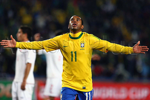 Robinho (BRA), JUNE 28, 2010 - Football : Robinho of Brazil celebrates his goal during the 2010 FIFA World Cup South Africa Round of Sixteen match between Brazil 3-0 Chile at Ellis Park Stadium in Johannesburg, South Africa.