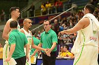 MEDELLÍN - COLOMBIA, 25-08-2017: Cesar Maximo GUIDETTI entrenador de Brasil durante el partido entre Brasil y Colombia de la fase de grupos, grupo A, de la FIBA AmeriCup 2017 jugado en el coliseo Iván de Bedout de la ciudad de Medellín.  El AmeriCup 2017 se juega  entre el 25 de agosto y el 3 de septiembre de 2017 en Colombia, Argentina y Uruguay. / Cesar Maximo GUIDETTI coach of Brazil during the match between Brazil and Colombia of the group stage Group A of the FIBA AmeriCup 2017 played at Ivan de Bedout  coliseum in Medellin. The AmeriCup 2017 is played between August 25 and September 3, 2017 in Colombia, Argentina and Uruguay. Photo: VizzorImage / León Monsalve / Cont