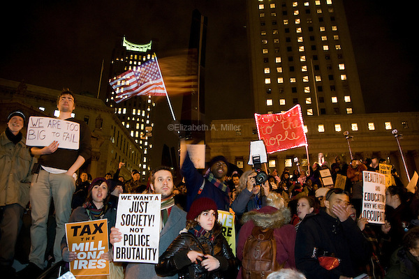 "Students, workers, and other supporters gather at Foley Square to demonstrate continued solidarity with the Occupy Wall Street movement on its two month anniversary, which the movement has dubbed its ""Day of Action"" in New York City, New York on 17 November 2011."