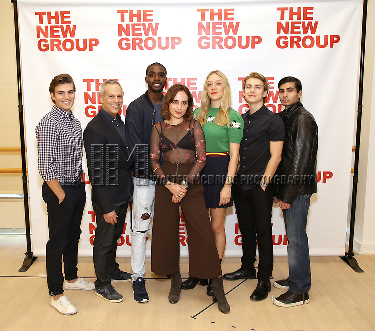 Daniel Sovich, Josh Pais, Moise Morancy, Sadie Scott, Chloe Sevigny, David Levi, Cristian DeMeo attend the cast photo call for the New Group Production on 'Downtown Race Riot' on October 23, 2017 at The New 42nd Street Studios in New York City.