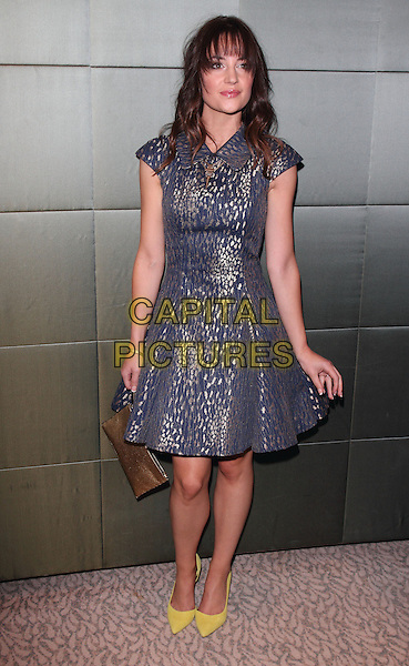 Paula Lane<br /> TV Choice Awards - Inside Arrivals at the Dorchester Hotel,  Park Lane, Mayfair, London, England.<br /> September 9th, 2013<br /> full length blue dress yellow shoes <br /> CAP/ROS<br /> &copy;Steve Ross/Capital Pictures