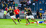 Solna 2014-07-24 Fotboll Europa League AIK - Linfield FC :  <br /> AIK:s Kennedy Igboananike har gjort 1-0 och jublar med Ebenezer Ofori  och Nabil Bahoui  <br /> (Foto: Kenta J&ouml;nsson) Nyckelord:  AIK Gnaget Friends Arena Linfield LFC Europa League Kval jubel gl&auml;dje lycka glad happy