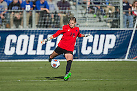 Cary, North Carolina - Sunday December 6, 2015: Britt Eckerstrom (28) of the Penn State Nittany Lions kicks the ball during second half action against the Duke Blue Devils at the 2015 NCAA Women's College Cup at WakeMed Soccer Park.  The Nittany Lions defeated the Blue Devils 1-0.