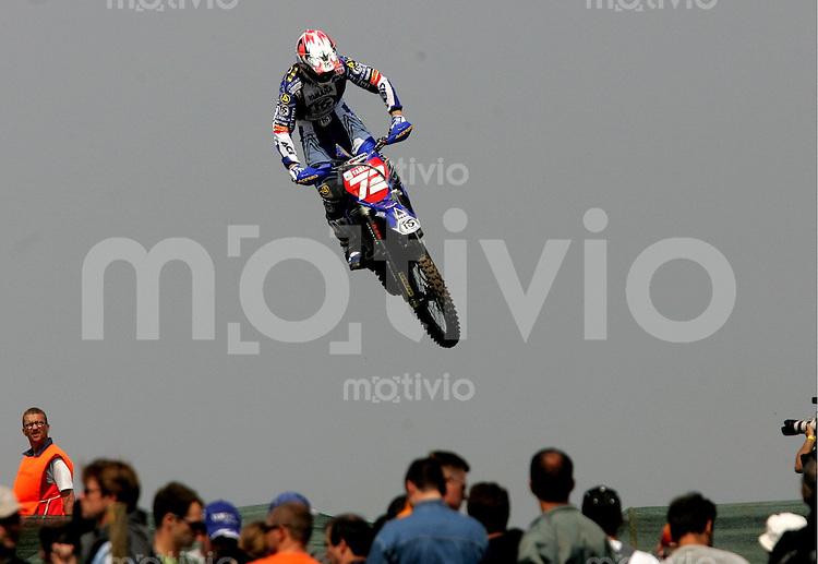 Erfurt , 210405 , Motocross Weltmeisterschaft  Stefan Everts (BEL , Yamaha) aufgenommen im Teutschenthaler Talkessel waehrend des Rennen der MX1 Klasse.