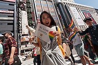 The Rainbow Pride Event in Shibuya, Tokyo, Japan. Sunday, April 26th 2015. This is the forth annual celebration of LGBT issues in Tokyo and forms part of a wider Rainbow Week. About 5% of the Japanese population identify as homosexual and this event hopes to foster a society where they can live equally and without prejudice.