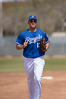 Kansas City Royals right fielder Vance Vizcaino (13) during a Minor League Spring Training game against the Milwaukee Brewers at Maryvale Baseball Park on March 25, 2018 in Phoenix, Arizona. (Zachary Lucy/Four Seam Images)