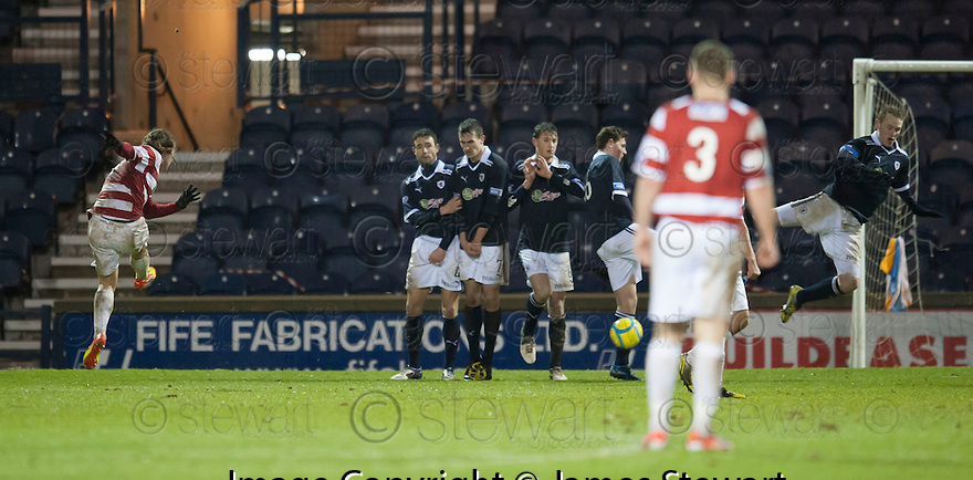 Accies Stevie May scores their second goal.