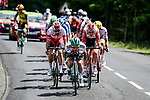 The breakaway led by Lukas Pöstlberger (AUT) Bora-Hansgrohe during Stage 9 of the 2019 Tour de France running 170.5km from Saint-Etienne to Brioude, France. 14th July 2019.<br /> Picture: ASO/Pauline Ballet | Cyclefile<br /> All photos usage must carry mandatory copyright credit (© Cyclefile | ASO/Pauline Ballet)