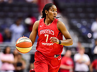 Washington, DC - June 15, 2018: Washington Mystics guard Ariel Atkins (7) brings the ball up court during game between the Washington Mystics and Los Angeles Sparks at the Capital One Arena in Washington, DC. (Photo by Phil Peters/Media Images International)