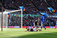 Scott Hogan of Aston Villa pushed by Harlee Dean of Birmingham City in the box<br /> <br /> Photographer Leila Coker/CameraSport<br /> <br /> The EFL Sky Bet Championship - Aston Villa v Birmingham City - Sunday 11th February 2018 - Villa Park - Birmingham<br /> <br /> World Copyright &copy; 2018 CameraSport. All rights reserved. 43 Linden Ave. Countesthorpe. Leicester. England. LE8 5PG - Tel: +44 (0) 116 277 4147 - admin@camerasport.com - www.camerasport.com