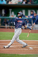 Micah Bello (8) of the Rocky Mountain Vibes at bat against the Ogden Raptors at Lindquist Field on July 4, 2019 in Ogden, Utah. The Raptors defeated the Vibes 4-2. (Stephen Smith/Four Seam Images)