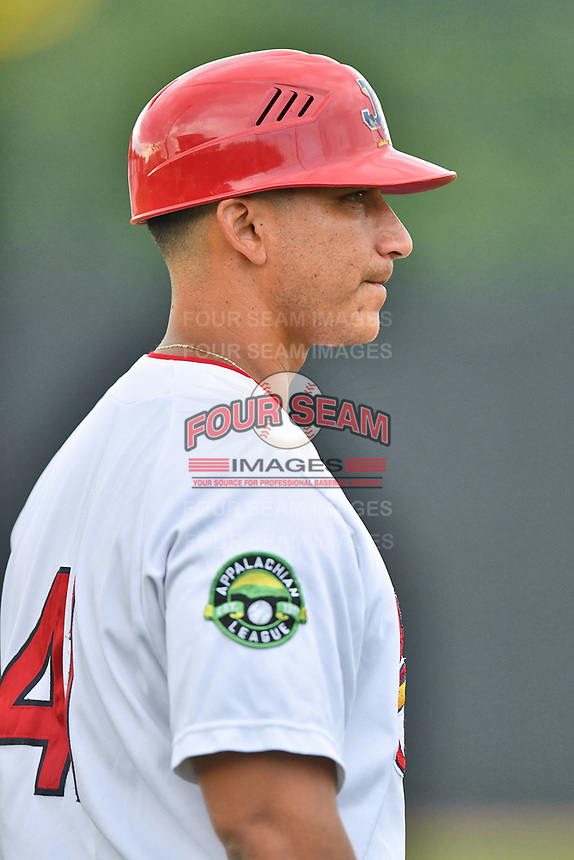Johnson City Cardinals manager Roberto Espinoza (41) during a game against the Kingsport Mets at TVA Credit Union Ballpark on June 28, 2019 in Johnson City, Tennessee. The Cardinals defeated the Mets 7-4. (Tony Farlow/Four Seam Images)