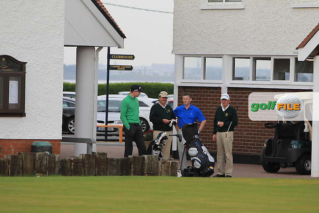 Robin Dawson (Waterford), Kevin McIntyre (President G.U.I, Greg Allen (RTE) and Albert Lee (Hon. Sec. G.U.I ) during the Flogas Irish Amateur Open Championship Am-Am at Royal Dublin on Monday 9th May 2016.<br /> Picture:  Thos Caffrey / www.golffile.ie