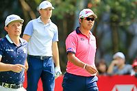 Cameron Smith (AUS) Jordan Spieth (USA) and Hideki Matsuyama (JPN) walking off the 3rd tee during the 3rd round of the WGC HSBC Champions, Sheshan Golf Club, Shanghai, China. 02/11/2019.<br /> Picture Fran Caffrey / Golffile.ie<br /> <br /> All photo usage must carry mandatory copyright credit (© Golffile | Fran Caffrey)