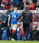 14.09.2019 Rangers v Livingston: Ryan Kent off with a hamstring injury