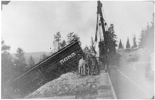 Stock car #5685 derailed.  Being hauled via block and tackle back up embankment to track.<br /> D&amp;RG    5/20/1904