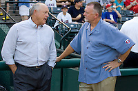 Texas Rangers Owner and Hall of Fame pitcher Nolan Ryan talks with  Bert Blyleven before the Major League Baseball game against the Texas Rangers at the Rangers Ballpark in Arlington, Texas on July 27, 2011. Blyleven, who also pitched for the Texas Rangers during his long career was enshrined in the National Baseball Hall of Fame last weekend. Minnesota defeated Texas 7-2.  (Andrew Woolley/Four Seam Images)