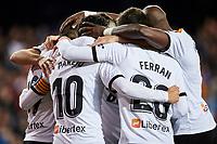 30th November 2019; Mestalla, Valencia, Spain; La Liga Football, Valencia versus Villareal; Rodrigo Moreno of Valencia CF celebrates with his team mates after scoring in minute 48' the first goal for his team 1-0 - Editorial Use