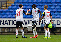 Bolton Wanderers' Harry Brockbank , Yoan Zouma and Ronan Darcy celebrate at the end of the match<br /> <br /> Photographer Andrew Kearns/CameraSport<br /> <br /> The EFL Sky Bet Championship - Bolton Wanderers v Coventry City - Saturday 10th August 2019 - University of Bolton Stadium - Bolton<br /> <br /> World Copyright © 2019 CameraSport. All rights reserved. 43 Linden Ave. Countesthorpe. Leicester. England. LE8 5PG - Tel: +44 (0) 116 277 4147 - admin@camerasport.com - www.camerasport.com
