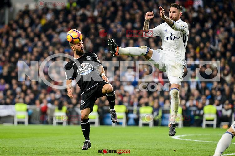 Real Madrid Sergio Ramos and Deportivo de la Coruña Emre Colak during La Liga match between Real Madrid and Deportivo de la Coruña at Santiago Bernabeu Stadium in Madrid, Spain. December 10, 2016. (ALTERPHOTOS/BorjaB.Hojas) /NORTEPHOTO.COM