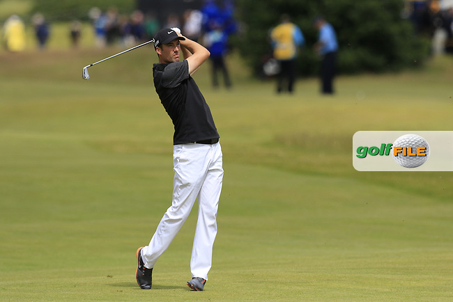 Ross FISHER (ENG) plays his 2nd shot on the 17th hole during Sunday's Round  of the 144th Open Championship, St Andrews Old Course, St Andrews, Fife, Scotland. 19/07/2015.<br /> Picture Eoin Clarke, www.golffile.ie