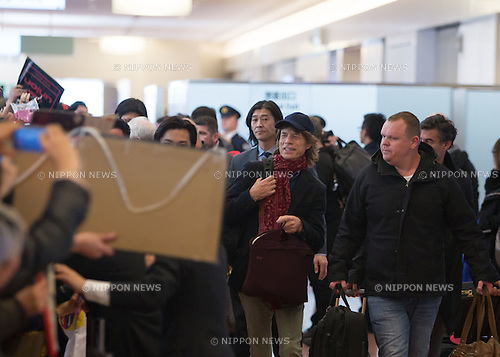 Mick Jagger, Feb 23, 2014 : Chiba, Japan - A picture released on March 7, 2014, shows Rolling Stones member Mick Jagger upon his arrival at Tokyo's Haneda International Airport on February 23, 2014. The Rolling Stones were on their '14 on Fire' Japan tour. (Photo by AFLO)