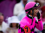 LOUISVILLE, KENTUCKY - MAY 04: Luis Saez reacts to the announcement that there was an objection in the Kentucky Derby at Churchill Downs in Louisville, Kentucky on May 04, 2019. Evers/Eclipse Sportswire/CSM