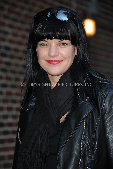 WWW.ACEPIXS.COM . . . . . February 28, 2012...New York City....Pauley Perrette tapes an appearance on  the Late Show with David Letterman on February 28, 2012 in New York City....Please byline: KRISTIN CALLAHAN - ACEPIXS.COM.. . . . . . ..Ace Pictures, Inc: ..tel: (212) 243 8787 or (646) 769 0430..e-mail: info@acepixs.com..web: http://www.acepixs.com .