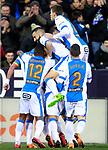 CD Leganes' players celebrate goal during La Liga match. February 21,2018. (ALTERPHOTOS/Acero)