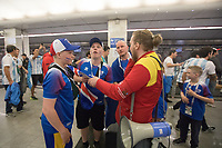 MOSCOW, RUSSIA - June 16, 2018: Iceland fans ask for help to find the right subway train to get to Spartak stadium for their game against Argentina at the 2018 FIFA World Cup.