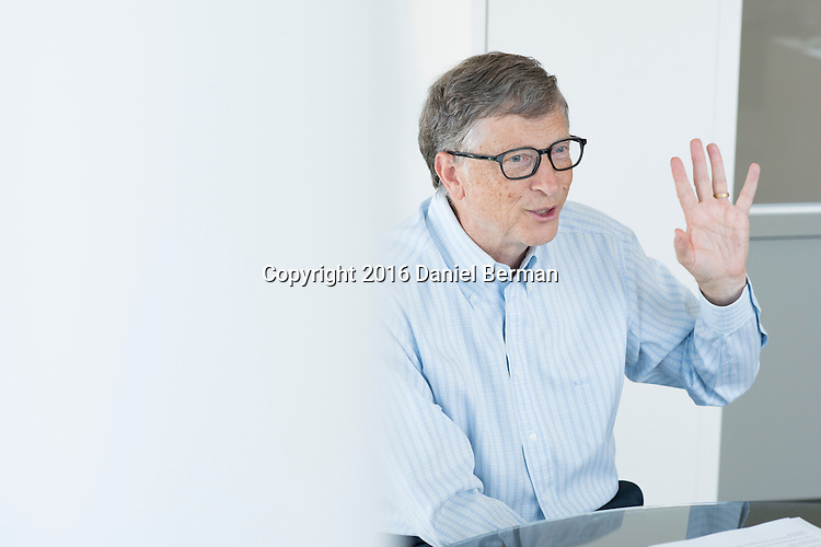Microsoft Corporation founder, technology advisor and board member Bill Gates is photographed at the Bill and Melinda Gates Foundation headquarters in Seattle, Washington. Photo by Seattle photographer Daniel Berman/www.bermanphotos.com