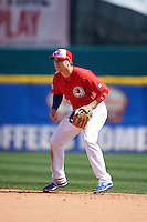 Buffalo Bisons second baseman Andy Burns (41) during a game against the Louisville Bats on May 2, 2015 at Coca-Cola Field in Buffalo, New York.  Louisville defeated Buffalo 5-2.  (Mike Janes/Four Seam Images)