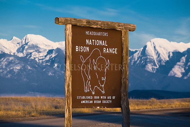 The National Bison range Sign and Mission Mountains near Moiese, Montana
