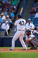 New York Yankees catcher Austin Romine (43) at bat during a Spring Training game against the Detroit Tigers on March 2, 2016 at George M. Steinbrenner Field in Tampa, Florida.  New York defeated Detroit 10-9.  (Mike Janes/Four Seam Images)