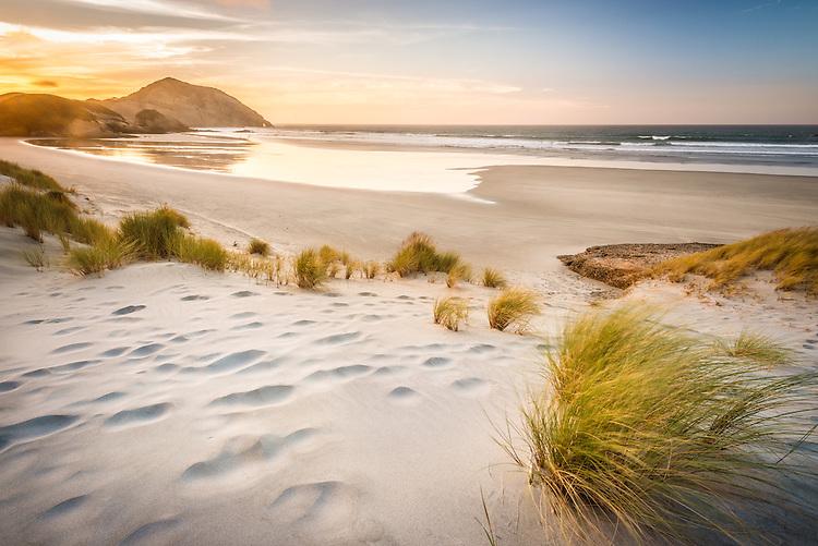 The sun sets behind coastal headland at Wharariki Beach, Golden bay New Zealand. stock photo, canvas, fine art print