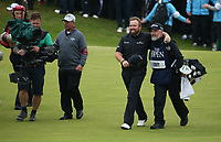 Shane Lowry (IRL) & caddie Brian Martin enjoying the walk to the 18th during the Final Round of the 148th Open Championship, Royal Portrush Golf Club, Portrush, Antrim, Northern Ireland. 21/07/2019. Picture David Lloyd / Golffile.ie<br /> <br /> All photo usage must carry mandatory copyright credit (© Golffile | David Lloyd)
