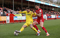 Fleetwood Town's Wes Burns and Crawley Town's Tom Dallison<br /> <br /> Photographer Rob Newell/CameraSport<br /> <br /> Emirates FA Cup Second Round - Crawley Town v Fleetwood Town - Sunday 1st December 2019 - Broadfield Stadium - Crawley<br />  <br /> World Copyright © 2019 CameraSport. All rights reserved. 43 Linden Ave. Countesthorpe. Leicester. England. LE8 5PG - Tel: +44 (0) 116 277 4147 - admin@camerasport.com - www.camerasport.com