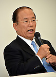 September 1, 2015, Tokyo, Japan - Toshio Muto, director general of the organizing committee of the 2020 Tokyo Olympics, speaks during a news conference in Tokyo late Tuesday, September 1, 2015. Following an emergency meeting, Muto said the organizing committee would scrap the emblem designed by Kenjiro Sano some critics said may have been plagiarized. The logo scandal is another embarrassment for Japan, which scrapped the initial design of the main stadium for the Games following a public uproar over its skyrocketing estimated cost. (Photo by Natsuki Sakai/AFLO) AYF -mis-