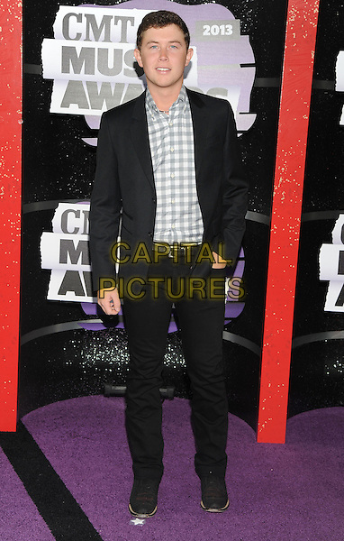 Scotty McCreery<br /> 2013 CMT Music Awards held at Bridgestone Arena, Nashville, Tennessee, USA.<br /> June 5th, 2013<br /> full length black suit white grey gray check shirt<br /> CAP/ADM/RP<br /> &copy;Ryan Pavlov/AdMedia/Capital Pictures